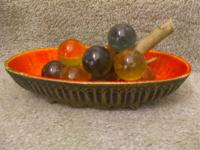 Approx. 1950's Resin Grapes in Dish Decoration One of