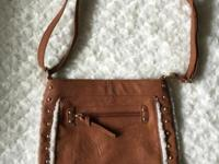 Apt 9 Brown Hobo Bag. Faux Leather with Faux Fur Around