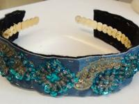 Gorgeous Handmade Headband In AQUA BLUE COLOR On Golden
