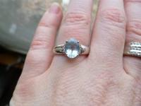 Aquamarine ring 14k white gold, diamonds on the side,
