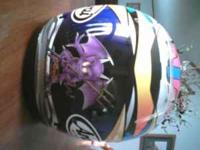 Female arai motorcycle helmet..size small..call Amy at