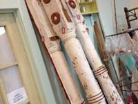 Stunning, Large, Chippy Painted Porch Posts. Three
