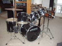 "ARGENT Drum Set (Black) 16"" x 22"" Bass Drum 20 lugs,"