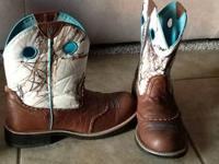 Ariat Fatbaby white camo boots, size 10, wore less than