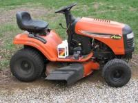 42 inch riding lawn mower, 1 1/2 year old, maintained