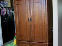 """All solid wood,  44 3/3"""" width at top, 42 3/4"""" width at"""