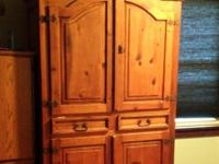 Real solid wood Armoire made out of Pinewood. It came