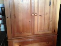 """Broyhill"" maple-honey tone pine armoire/entertainment"