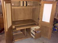 Armoire/office hub. Roll out shelf for printer and