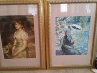 5 Renoir wood framed and matted prints behind glass 2