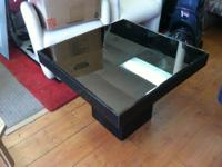 "Art Deco Black Mirrored Top 28""W End Table $39 Black"