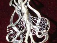 Silver Pendant/Pin in art nouveau style. Figure is