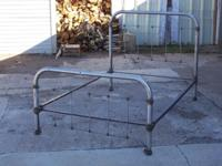 Art Nouveau Tubular & Wrought Iron Metal Bed (Full