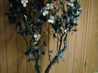 Artificial decorative tree in black with white flowers