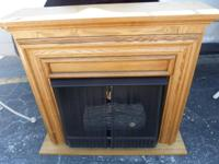 Oak faux fireplace Burns little cans of fuel 35.5""