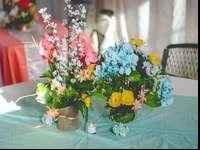 I created these flower arrangements for my wedding. I'm