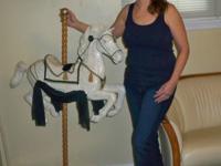 """Artistic Decorative Carousel Horse, 36""""Wx50""""Hx11""""D,"""