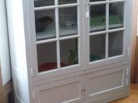Quite great repainted cabinet/bookcase with glass doors