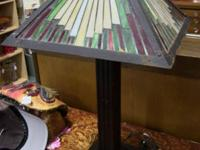 "Mid-mod stained glass panel lamp. Measures 15""x24.5""."