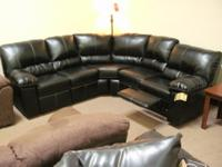 ASHLEY MORENO BLACK LEATHER Modern Reclining SECTIONAL