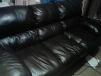 Large comfortable dark brown faux leather 3 cushion