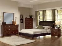 This 7-piece queen bed room offers a modern design with