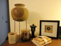 Asian home decor--vase, stand, pictures, statue, candle