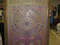Asian pink gold threading tapestry, framed. High