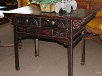 Ebonized asian style alter table with 2 drawers and a