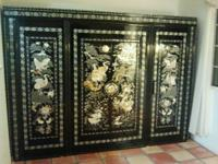 Beautiful asian wardrobe handcrafted with mother of