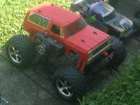 Assorted RC Trucks & Boat:  Miss Vegas Nitro boat with