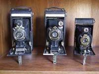 ASSORTMENT OF OLD ANTIQUE FOLDING CAMERAS! We have a
