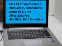 "Asus 13.3"" Touch Screen Windows 8.1 Pro Just Like NEW,"
