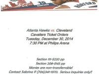 Atlanta Hawks vs. Cleveland Cavaliers 12/30/14 game