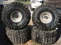 4, 22*11-8 atv tires and 4 hole wheeles 100$ or best
