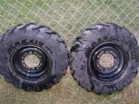 2 front maxxis front atv tires 25x8x12. They are on the