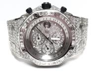 42mm 18K White Gold case entirely set with diamonds,