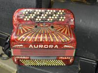 Aurora Chromatic Accordion Stradella Made in Italy  Up