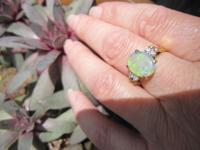 Beautiful oval shaped crystal opal from Australia with