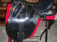 "Australian Saddle w/horn, 18"" dark ""oil horse"","