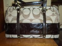 Medium size Satchel style, Fabric/Patent Leather -