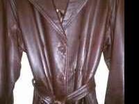 AUTHENTIC COACH LEATHER COAT DARK BROWN SIZE SMALL MID