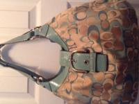 Teal and Cream Coach $150.00 Color long strap coach