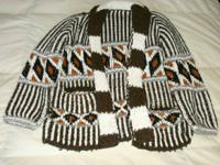 Beautiful c. 1970's Hand Knitted Wool Mexican Cardigan