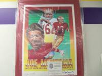 Autographed Joe Montana 16x20 Lithograph Comes W/ COA