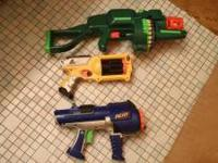 3 nerf guns: tommy 20 electric automatic, revolver, ten