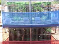 Features per cage include: - Large lift-up front door;