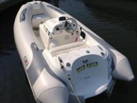 This is a 63hp Avon Inflatable jet RIB. It runs
