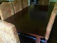 Awesome Pier One cherry wood dining table and 8 chairs