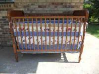 BEAUTIFUL Solid Wood Crib $60.00 Includes mattress Call